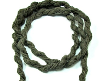 """Cotton cord twisted 8mm, twisted cotton cord 8mm, twisted cord rope, cotton rope for crafts, soft cotton rope, gray brown cord, """"S"""" cord, 2m"""
