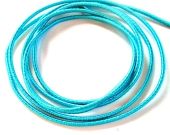 Wrapped silk cord, satin cord, turquoise, 2 meters
