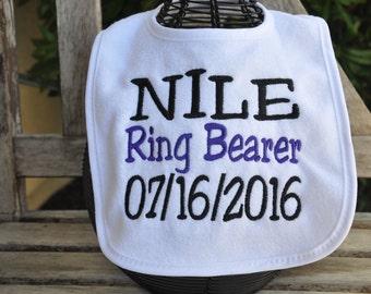 Ringer Bearer EMBROIDERED BABY BIB - Ring Bearer Bib, Wedding bib, Wedding gift, Wedding, Ring Bearer Gift, custom bib, baby bib