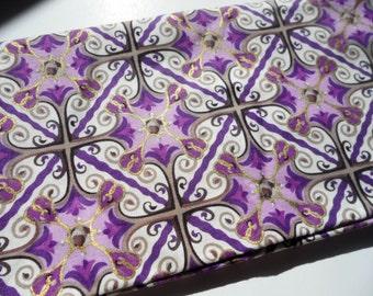 Cotton Half Yard Fabric - Kate Ward Thacker Rosettes - Ready to ship - purple and gold mosaic
