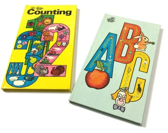Vintage 1980s Childrens Book / Set of 2 Golden Sturdy Shape Books - Counting and ABC's Hc VGC / Early Reader Board Books