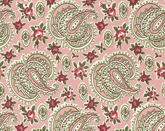 Indigo Rose Fabric by Verna Mosquera Free Spirit/Westminister Paisley Path with Floral Flowers on Carnation Pink