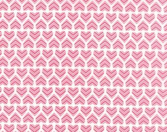 Hugaboo Valentine MODA Fabric Chevron Striped Small Hearts Valentine's Day in Pink Red and White