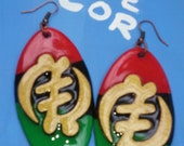 Gye Nyame Adinkra RBG Wood Earrings