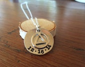Custom recovery necklace - recovery symbol with date -AA jewelry -gift for sober anniversery - hand stamped jewelry