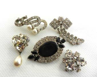 Ancient collection of European Brooches - 5 pins with original design and dazzling  stones - Rhinestones & pearls -- art.515/2 -
