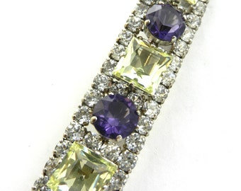 STUNNING high quality 1940s long rectangle brooch with open back unfoiled Amethist glass stones and Topaz -- Art.275/4 --