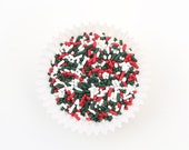 Christmas Sprinkles, Christmas Jimmies (4 oz) Red, Green and White Sprinkles