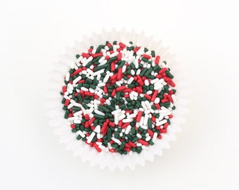 Christmas Sprinkles, Christmas Jimmies (4 oz) Red, Green and White Sprinkles