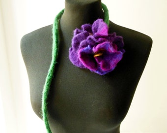 felt violets necklace, flowers lariat, eco friendly necklace, statement necklace