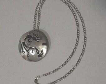 Hopi Silver Pin Pendant Kokopelli