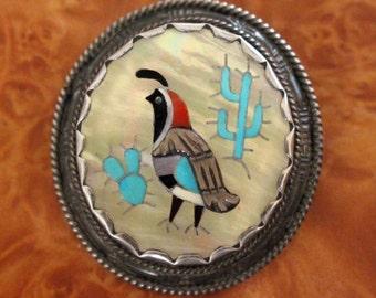 Lonjose Zuni Pin Pendant Inlaid Quail