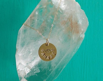 PURE LOVE Namaste Yoga Jewelry with Lotus, NAMASTE Necklace in Yellow Gold-Filled, Lotus Flower Necklace, Yoga Jewelry (#048)