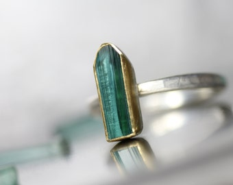 Rough Blue-Green Indicolite Tourmaline Ring Silver 22K Yellow Gold Geometric Minimalistic Rustic Spiritual Zen Statement Ring - Teal Temple