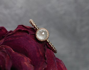 Rose-Cut Opalescent White Diamond Engagement Ring 14K Rose Gold Delicate Beaded Band Detail Romantic Minimalistic Bridal Boho - Beauty Mark