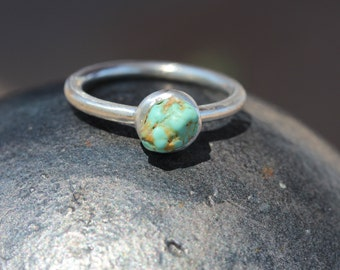 Rough Cerrillos Turquoise Silver Ring Southwest Inspired Mint Green-Blue Boho Stacking Ring December Birthstone Gift Idea Teen - Tiny Mint