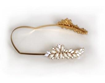 Alexandra Pearls Greek Goddess Headband, Rear Headband, Embedded Pearl Wreath, Bridal Tiara, Bridal Hair Accessories, Wedding Hair Jewelry