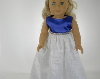 18 inch doll clothes made to fit dolls such as American Girl® doll clothes party dress fancy gown blue, 11-0681