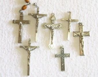 Vintage Catholic Rosary Cross Lot • 7 count