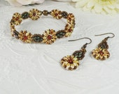 Woven Bracelet and Earrings Daisy Flowers in Bronze and Cream Earthtones