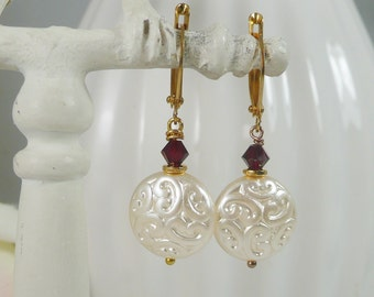 Earrings Filigree Glass Coins and Red Swarovski Crystals