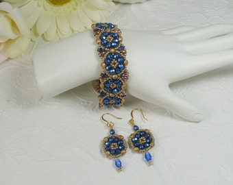 Woven Bracelet and Earrings Set Brilliant Blue and Gold