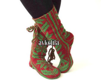 Christmas Gift, Long Slippers, Cozy Slippers, Mukluk, Wool Socks, House Slippers Red and Green