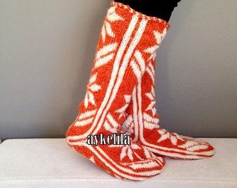 Snow Pattern, Winter Slippers, Orange Slippers, Warm Slippers, Christmas Gift, Womens Slippers, Mukluk