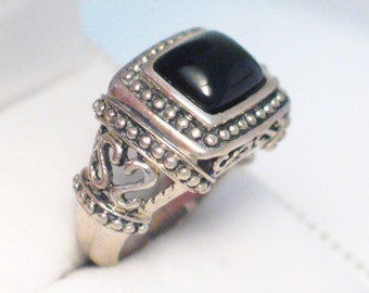 black onyx ring band  sterling silver size 6.75 gemstone solitiare design ornate scroll rope beaded quality sturdy womens mens jewelry