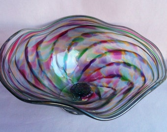 Hand Blown Art Glass Fruit  Bowl on Foot, Multicolored