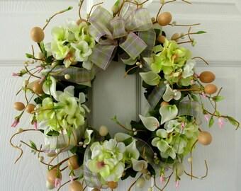 Easter Wreath / Spring Wreath / Calla Lily Hydrangea Egg Wreath / Light Green Pink Cream / Door Wreath /