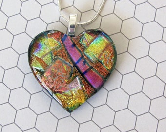 Dichroic Jewelry - Copper, Rose, and Gold Heart - Dichroic Fused Glass Jewelry - Fused Dichroic Glass Pendant & Necklace - 114-16