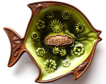 Vintage Treasure Craft Souvenir Seattle Ashtray Nut Dish Pottery Fish Seahorses