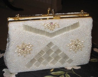 Beaded White 50's Bridal/Wedding/Evening Purse/Bag/Clutch