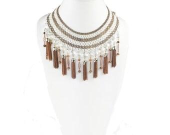 Vintage White Beaded Tassel Necklace  N4903