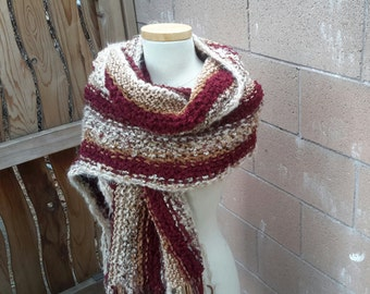 Hand Knit Stole | Cranberry, Toast & Cream Knitted Shawl | Earthy Winter Wrap