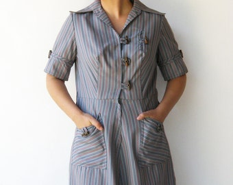 Vintage 1960s Dress / Toggle Button Dress / Size L