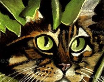 Camo Kitty - cat, cat art, cat portrait, cat eyes, cat art print, green cat eyes, cat gifts, cat card