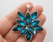 1 Flower peacock blue charm antique silver tone M742