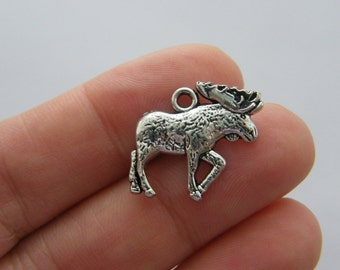 4 Moose charms antique silver tone A415