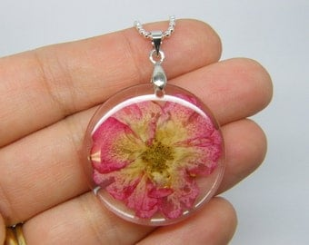 1 Pink dried flower resin pendant silver plated tone NB17
