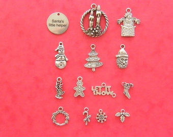 The Santa's little helper Christmas collection - 14 different antique silver tone charms