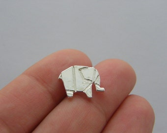 10 Paper elephant origami charms silver plated PT96