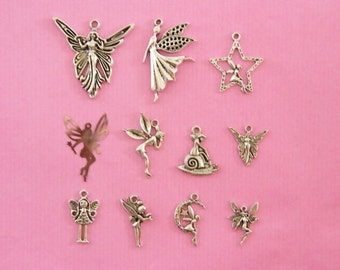 The Fairy Collection - 11 different antique silver tone charms