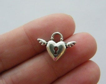 BULK 50 Heart wing lock charms antique silver tone H65