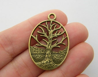 BULK 20 Tree charms antique bronze tone BC19