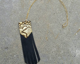 Black and gold snake leather fringe GOOD LUCK necklace