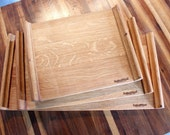 Set of Three Upcycled Wood Barrel Stave 'Plinths'