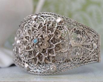 Vintage find sterling silver bangle bracelet with blue turquoise gemstone