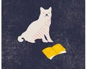 Gato impresión de la lectura